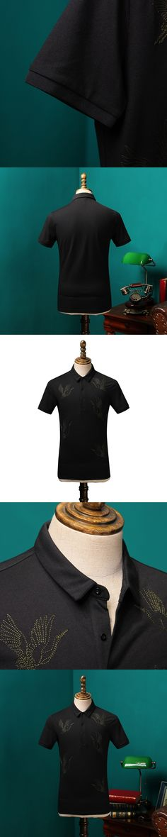 2017 Summer Cotton Shirt Men Embroidery Pattern Elasticity Suit Shirts Slim Black Short-sleeved Shirt CBCS001