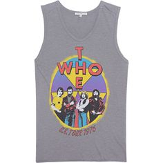 JUNK FOOD CLOTHING The Who Grey // Tank top with print (86 CAD) ❤ liked on Polyvore featuring tops, shirts, tanks, pattern tank top, gray tank top, patterned tops, gray tank and gray top