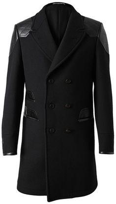 Yves Saint Laurent - Leather and Wool Coat Coat Dress, Men Dress, Mens Dress Coats, Men Coat, Men's Coats And Jackets, Wool Jackets, Sharp Dressed Man, Sweater Jacket, Jacket Men