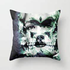 monroe abstract skull portrait Throw Pillow by Joedunnz - $20.00