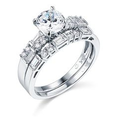 14k White Gold SOLID Engagement Ring and Wedding Band 2 Piece Set ** To view further, visit http://www.amazon.com/gp/product/B005GW57I2/?tag=ilikeboutique09-20