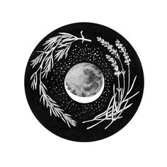 Hand drawn with pen, a sprig of rosemary and lavender cradle the moon and stars. This is a giclee print of an original illustration. The image