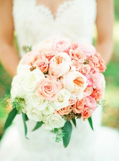 A Fab Pink + White Bouquet from Beautiful Blooms and Lindsay Madden Photography to start off the day on Style Me Pretty. See the wedding here: http://www.StyleMePretty.com/2014/02/21/crossing-vineyards-winery-wedding/