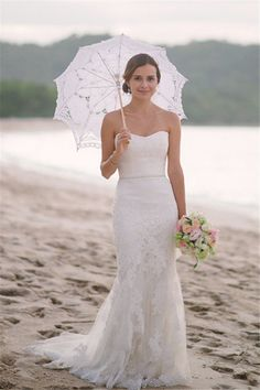 Buy Subtle Elegant Cheap Bridal Gowns Sweetheart Strapless Lace Mermaid White Sleeveless Tulle Beach Wedding Dresses UK on promdress. White Beach Wedding Dresses, Outdoor Wedding Dress, Stunning Wedding Dresses, Cheap Wedding Dress, Lace Wedding, Modest Wedding, Wedding White, Casual Wedding, Gown Wedding