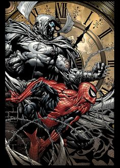 Spider-Man & Moon Knight - Comic Art Work By David Finch - #comics, #comicart, #davidfinch, #finch