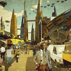 Vigilism, » Idumota Market, Lagos 2081A.D.« from the »Our Africa 2081A.D.« series, illustration for the Ikiré Jones Heritage Menswear Collection, 2013, © Courtesy Olalekan [vigilism.com] and Walé Oyéjidé [ikirejones.com]