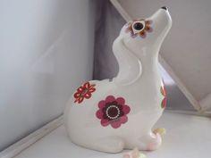 Floral Retro Ceramic Dog Money Box