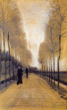 Alley Bordered by Trees, 1884, Vincent van Gogh Esimerkki vastaväriparista violetti-keltainen ja syvyyssuuntaisesta sommittelusta - keskeisperspektiivi, ja tilan korostaminen päällekkäisyydellä ja kauemmas mentäessä kohteiden pienenemisellä.