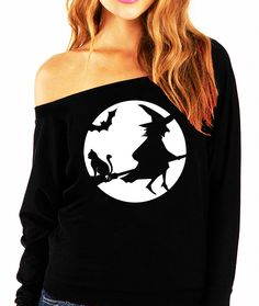 """""""WITCHING HOUR"""" Halloween Long Sleeve Sweater - White Print Celebrate Halloween with this fun slouchy sweatshirt! Available in Sizes S, M, L, XL, 2XL Please see photo above for size measurements 50% P"""