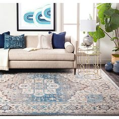Our Light Blue Medallion Ezra Area Rug will add a dash of excitement to your decor with its effortlessly classic medallion pattern and versatile tones! Blue And Cream Living Room, Beige Living Rooms, Blue Living Room Decor, Living Room Color Schemes, Living Room Accents, Rugs In Living Room, Living Room Themes, Light Blue, Beige Couch Decor