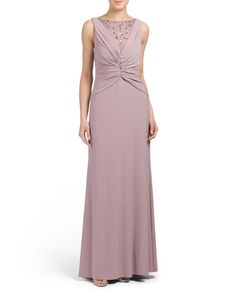 Illusion Neck Beaded Gown