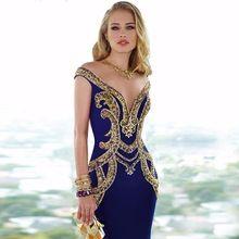 Sexy Voir À Travers Retour Bling Or Cristal De Bal Robe Custom Made Sirène Bleu…