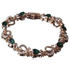 Passionaria - Green Heart Drop Cut Swarovski Crystal Gold Anklet