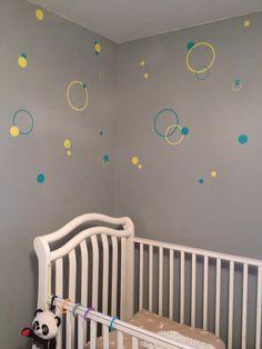 Baby's room - grey yellow aqua teal - circles bubbles dots