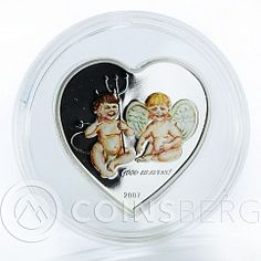 Palau 5 dollars Angel & Devil Babies Heart Good Heavens coloured proof 2007