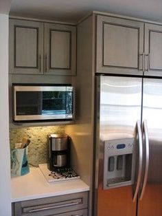 Can microwave shelf go right next to fridge? - Appliances Forum - GardenWeb; coffee area