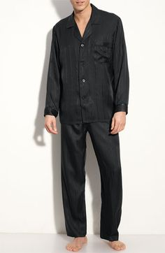 3adee4e08 Majestic International Herringbone Stripe Silk Pajamas