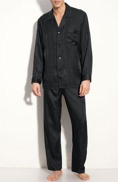 Majestic International Herringbone Stripe Silk Pajamas | Nordstrom