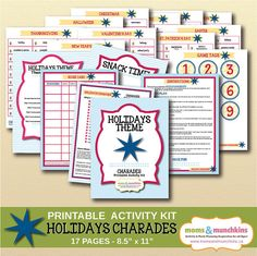 Charades For Family Fun: Holidays theme (includes 10 printable games, score card, fun snack ideas and more!)