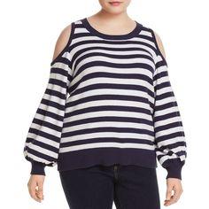 06e7c45b6810d Michael Michael Kors Plus Cold-Shoulder Stripe Sweater ( 130) ❤ liked on  Polyvore