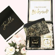 So beautifully packaged! Love these Bridesmaid proposal candles! very cute  and original way of 889a56602cff