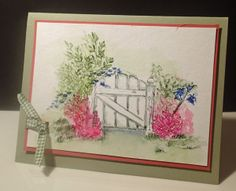 Art Impressions Rubber Stamps: Wonderful Water Color: watercolor fence and pot