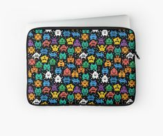 Pixelated Emoji Monster Pattern Illustration by Gordon White | Emoji Monster Macbook Pro Laptop Sleeve Available in 3 Sizes @redbubble --------------------------- #redbubble #emoji #emoticon #smiley #faces #cute #addorable #pattern #laptop #sleeve #macbook