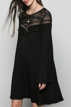 Bell Sleeve Lace Patchwork Black Dress