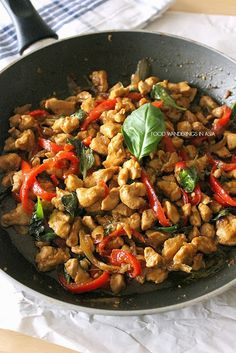 Thai Basil Chicken..... I WANNA GO HOME!!! Fairbanks has one of the most AHHHHMAZING Thai restaurants ever called The Thai House (on 5th Ave.) that had this and it was the most incredible Asian food I've ever put in my mouth. So homesick but maybe I bring a little Alaska to my Army kitchen:)