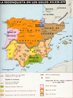 ETAPAS DE LA RECONQUISTA AVANCES TERRITORIALES                   LA PENÍNSULA IBÉRICA DURANTE LA RECONQUISTA        ... Spain History, European History, World History, Art History, Middle Ages History, Map Of Spain, States And Capitals, Bible Mapping, Geography Map
