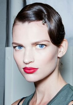 Berry Red Lips & Neutral eye Makeup Trend for Spring Summer 2013.  Jason Wu Spring Summer 2013.   #makeup #trends