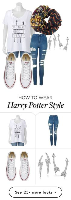 """How to wear Harry Potter style"" by hairypawter on Polyvore featuring Topshop, Converse and Journee Collection"