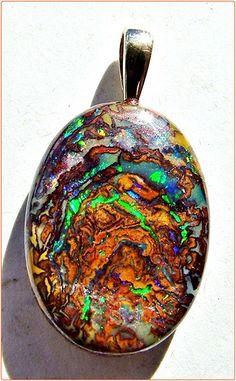 Carved Matrix Boulder Opal Pendant - Opals-On-Black.com