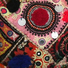 Ethnic textiles on patchwork bag