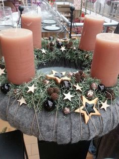 , Advent wreath more. Christmas Advent Wreath, Christmas Candle Decorations, Advent Candles, Christmas Candles, Diy Christmas Gifts, Christmas Art, Christmas Projects, Holiday Decor, Advent Wreaths