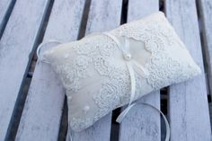 Ring bearer Pillow Wedding ring Cushion in Champagne by WeddingLab