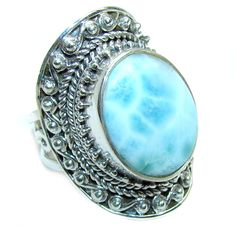 $76.95 Huge+AAA+quality+Blue+Larimar+Oxidized+Sterling+Silver+Ring+size+adjustable at www.SilverRushStyle.com #ring #handmade #jewelry #silver #larimar