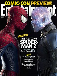 Fully Charged Electro Revealed on The Amazing Spider-Man 2 EW Magazine Cover - Andrew Garfield wants Peter Parker to explore his sexuality in future sequels, while EW offers a new look at  Carrie  and  Ender's Game .