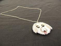 Vintage Silvertone Textured Chain Link Rhinestone Dog Puppy Pendant Necklace   #unbranded #Pendant