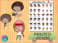 Cute Girl's Life Stickers : African American [PRINTED STICKERS], planner stickers, erin condren, happy planner, shopping, work, gym, coffee