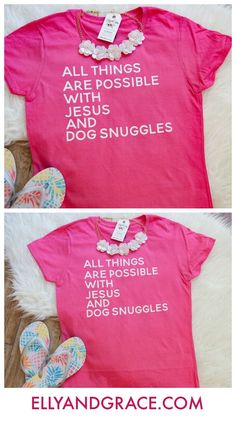 a1d4788b All Things are Possible with Jesus and Dog Snuggles Short Sleeve Shirt