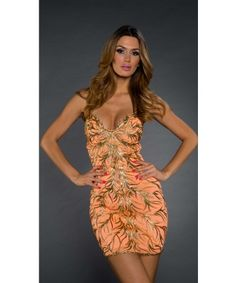Roxanni Rebecca Bustier Dress In Orange With Gold By Holt Find More : http://www.imaddictedtoyou.com/