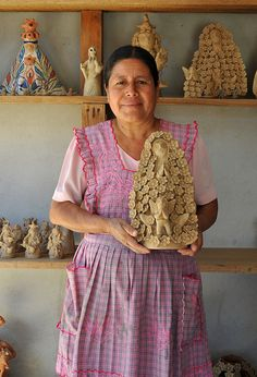 Ceramic artist Irma Garcia Blanco kindly posed with one of her creations at her home and studio in Santa Maria Atzompa, Oaxaca Mexico Ceramic Figures, Ceramic Artists, Mexican Folklore, Mexican Artwork, Mexican Costume, Mexican Ceramics, Mexican Crafts, Mexico Art, Mexican Designs