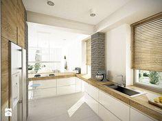 Bardzo podoba mi sięten grubszy drewniany blat biała Kuchnia - razoo-architekci