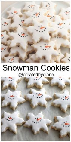 Snowman Snowflake Cookies Created by Diane christmas baking day Christmas Cookie Exchange, Christmas Sugar Cookies, Christmas Sweets, Christmas Cooking, Holiday Desserts, Holiday Cookies, Holiday Baking, Holiday Recipes, Snowman Cookies