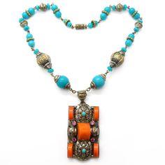 Vintage Czech Art Deco Neiger Coral & Turquoise Glass Filigree Metal Bead Necklace | Clarice Jewellery | Vintage Costume Jewellery