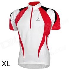 ARSUXEO AR13D3 Quick-drying Cycling Polyester Jersey for Men - Red   White   Black (XL) Price: $18.90
