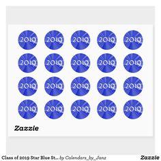 Shop Class of 2019 Star Blue Stickers by Janz created by Calendars_by_Janz. Shop Class, Class Of 2019, Dog Bowtie, Round Stickers, Graduation Gifts, Birthday Celebration, Custom Stickers, Back To School, Star