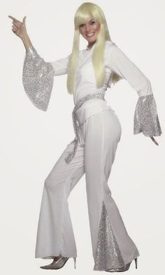 Ladies White Russian Costume Small UK for Abba Theme Fancy Dress Costume Année 70, Abba Costumes, Retro Costume, Adult Costumes, Costumes For Women, Abba Fancy Dress, Disco Fancy Dress, Look 80s, Disco Jumpsuit