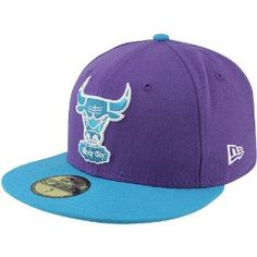 NBA New Era Chicago Bulls Custom 59FIFTY Fitted Hat - Purple Royal Blue 1e08b89dc